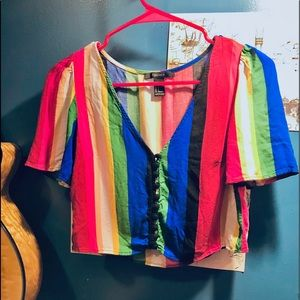 Rainbow crop top with button closure in front f21